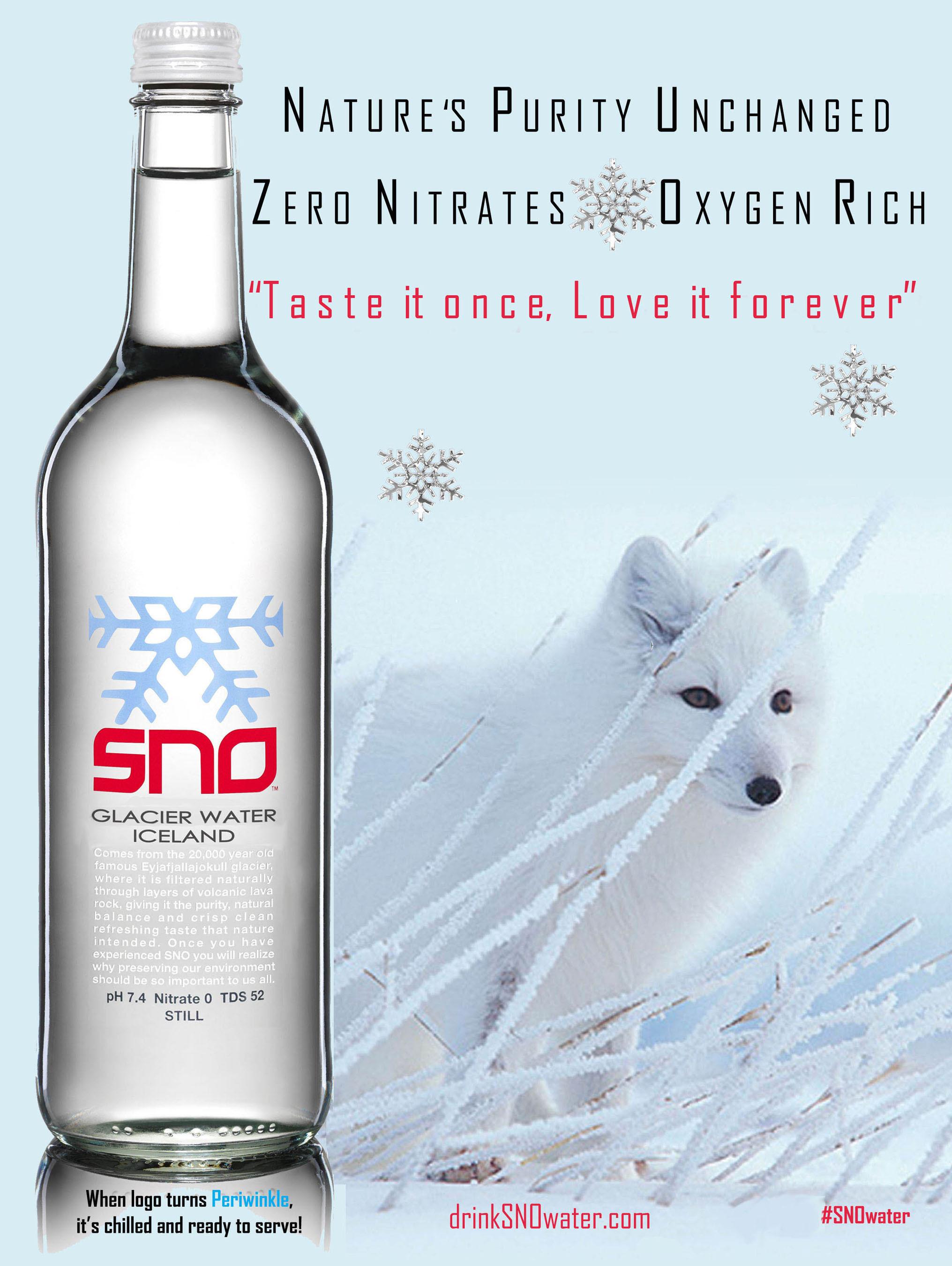 SNO(TM) Premium Glacier Water from Iceland.