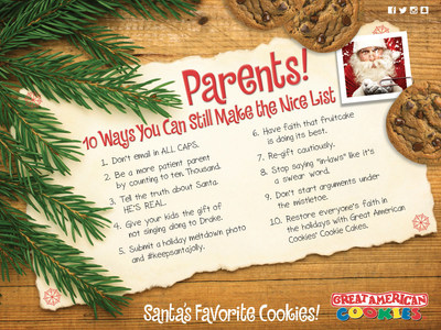 Santa partners with Great American Cookies to offer 10 ways parents can make this year's nice list.