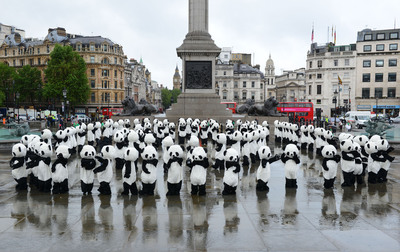 108 costumed pandas performing a tai-chi inspired dance in London for the launch of Chengdu Panda Awareness Week.  (PRNewsFoto/Chengdu Research Base of Giant Panda Breeding)