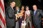 Kenny, Hawanya and Miles Lima with Emcee George Stephanopoulos and RMH-NY President & CEO William T. Sullivan.