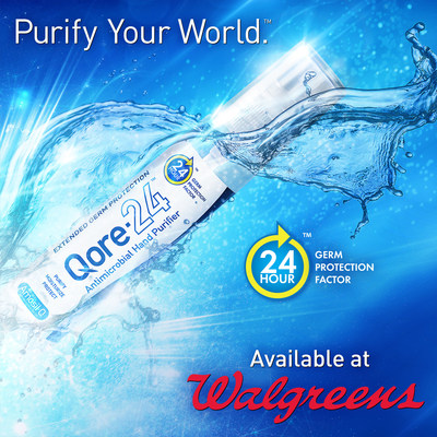 Qore-24, the world's only antimicrobial hand purifier, effectively killing germs for up to 24 hours, today announced it will be sold in 3,700 Walgreens stores nationwide.