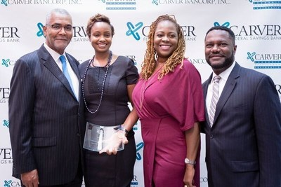 From left to right: Kenneth Knuckles, Carver Board of Directors, and President & CEO, Upper Manhattan Empowerment Zone, Aliyyah Baylor, Make My Cake; Blondel Pinnock SVP, Chief Lending Officer, Carver Federal Savings Bank; Michael T. Pugh, President & CEO, Carver Federal Savings Bank