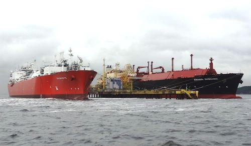 Angola LNG unloading its first cargo from the SS SONANGOL SAMBIZANGA at Petrobras' LNG receiving terminal in Gunabara Bay, Rio de Janeiro