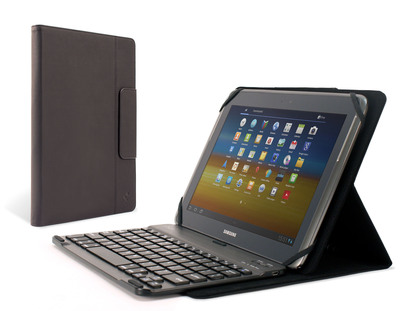 The M-Edge Stealth Pro Universal Keyboard Folio integrates the slim profile of a device-specific keyboard case with the modularity of a detachable magnetic Bluetooth keyboard that slides to any position desired. It achieves unlimited stand modes with M-Edge's patent-pending GripTrack(TM) technology, a friction-based solution that provides infinite viewing and typing positions. Tablet devices are secured with a durable patent-pending MultiFit(TM) silicone mount, which expands and contracts to fit a variety of device sizes and thicknesses. The Folio is made with a buttery smooth, soft-touch leather for a professional look and comfortable feel.  (PRNewsFoto/M-Edge)