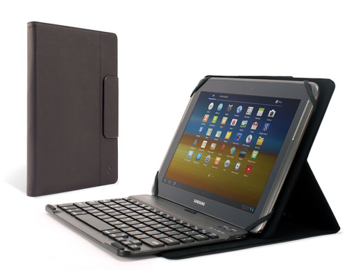 The M-Edge Stealth Pro Universal Keyboard Folio integrates the slim profile of a device-specific keyboard case with the modularity of a detachable magnetic Bluetooth keyboard that slides to any position desired. It achieves unlimited stand modes with M-Edge's patent-pending GripTrack(TM) technology, a friction-based solution that provides infinite viewing and typing positions. Tablet devices are secured with a durable patent-pending MultiFit(TM) silicone mount, which expands and contracts to fit a variety of device sizes and thicknesses. ...