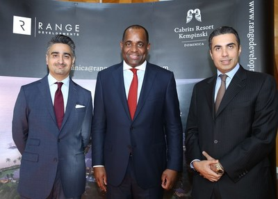 Munaf Ali, ceo of Range Developments; the Honourable Roosevelt Skerrit, Prime Minister of Dominica; Mohammed Asaria, vice chairman of Range Developments. Photo taken at the Park Hyatt Dubai Dec 9. (PRNewsFoto/Government of Dominica)