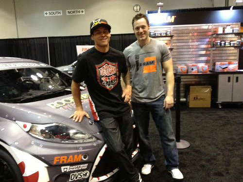 Motorsports icon, Brian Deegan, and FRAM Filtration marketing director Josh Gordon announce partnership for the 2013 season.  (PRNewsFoto/FRAM Filtration)