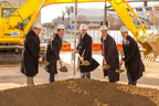 City and state officials joined Bridgestone Americas executives Jan. 7 to break ground on the tire manufacturer's new headquarters in downtown Nashville. From left, Nashville Mayor Karl Dean, Tennessee Economic and Community Development Commissioner Bill Hagerty, Bridgestone Americas CEO and President Gary Garfield, Tennessee Governor Bill Haslam, and Highwoods Properties President and CEO Ed Fritsch spoke at the ceremony at the building site at 4th Avenue South and Demonbreun Street.