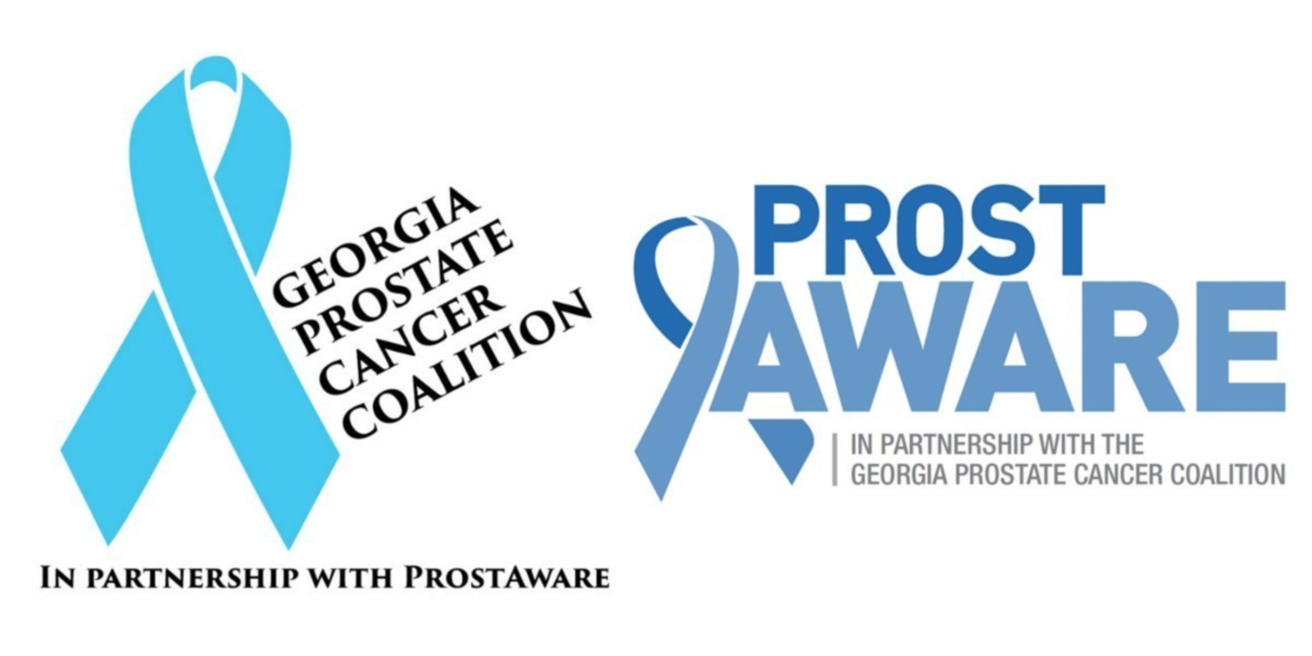 The logos for the Georgia Prostate Cancer Coalition and ProstAware, two of the leading nonprofits in Georgia in the fight against prostate cancer, the second-most fatal form of cancer among men.