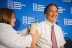 Howard K. Koh, M.D., Assistant Secretary for Health at the U.S. Department of Health and Human Services, led by example and got his flu vaccination at the National Foundation for Infectious Diseases news conference. Public health officials and medical experts encourage everyone six months and older to get vaccinated to protect themselves and those around them against influenza.  (PRNewsFoto/National Foundation for Infectious Diseases)