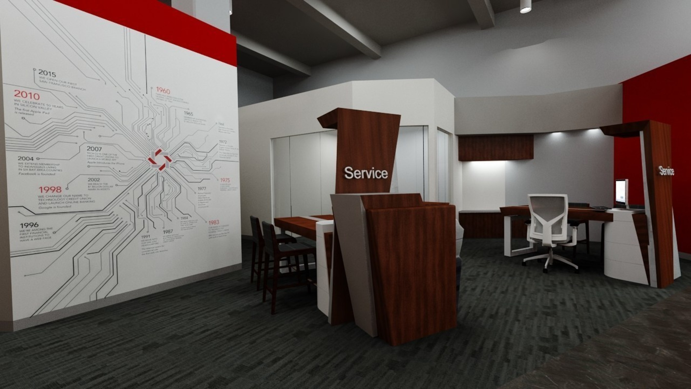 "DBSI helps Tech CU take ""Service"" to the next level with Service Spot, a patented flex workstation for collaboration between members and service representatives."