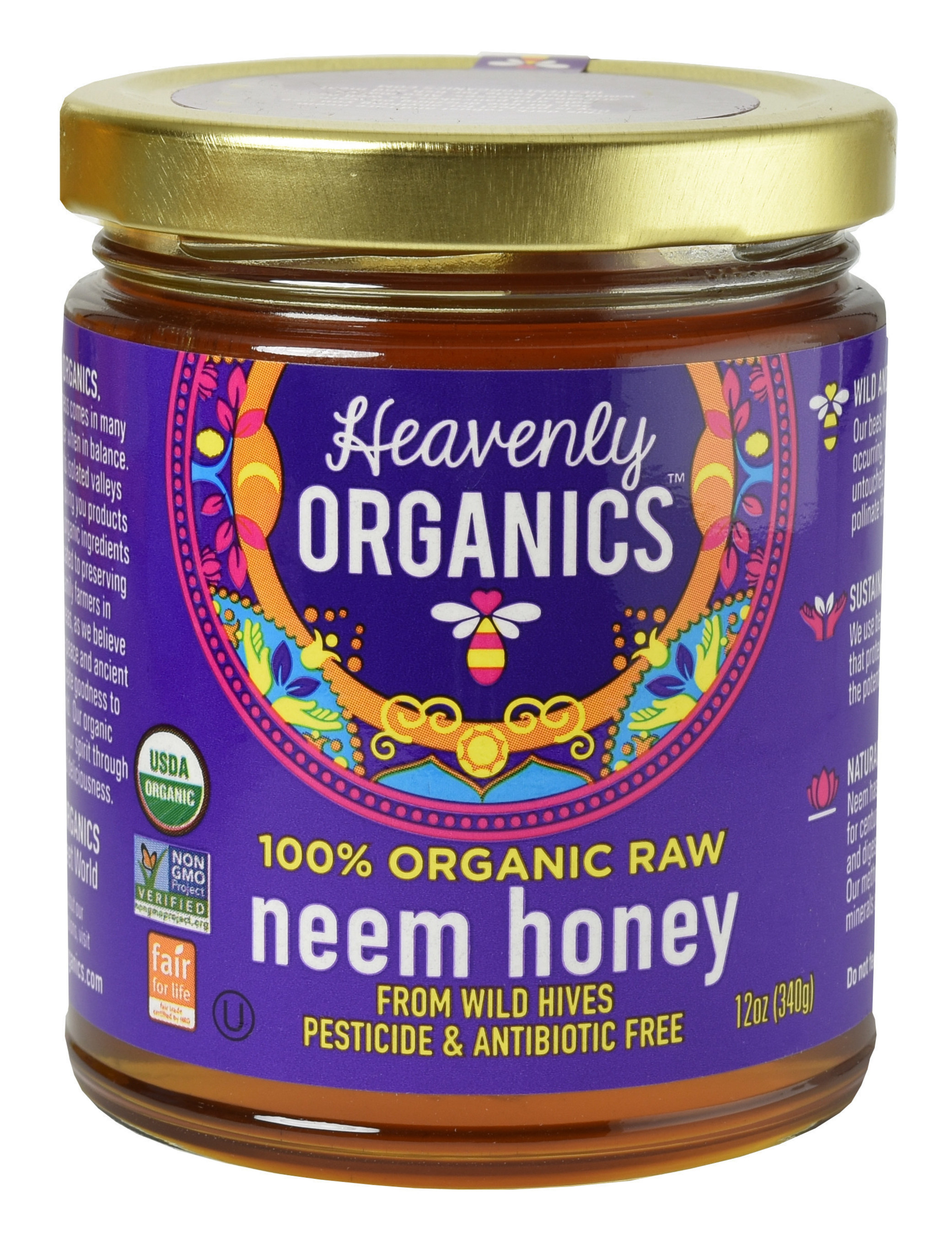 Heavenly Organics 100% Organic, Raw, Pesticide and Antibiotic Free Neem Honey from Wild Beehives