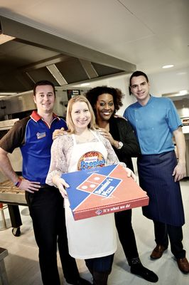 (From left to right) Domino's new product development chef Chris Denoven, winner Maria Tyrrell, This Morning's Alison Hammond and Jason Prescott, Domino's operations project manager.