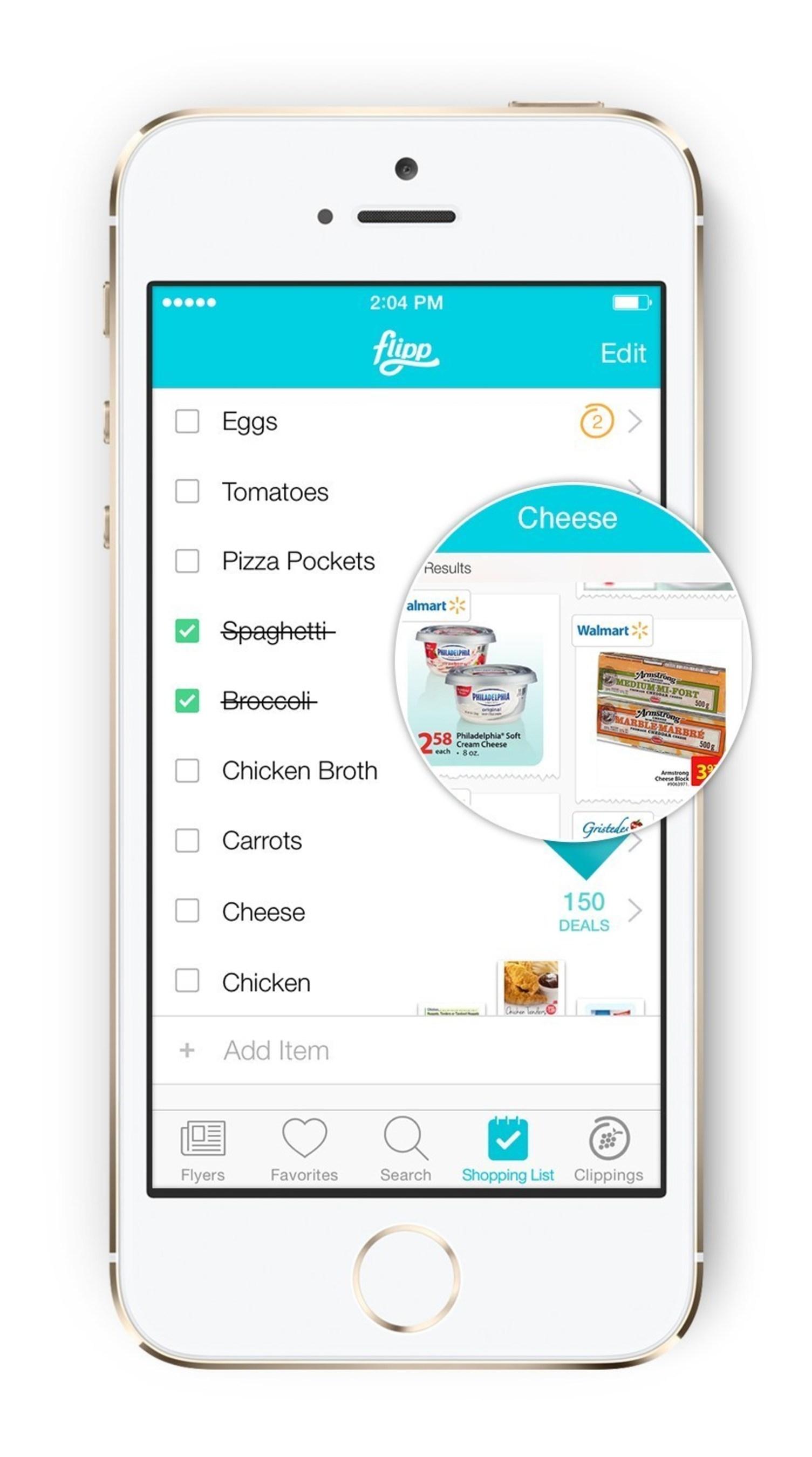 Shopping list feature in Flipp app