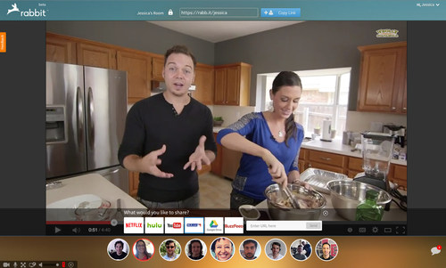 For more than just video chat, Rabbit lets users watch and share online content - including videos, TV shows and documents - with up to 10 of their friends. (PRNewsFoto/Rabbit Inc.)
