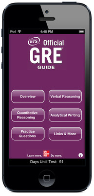 The Official GRE(R) Guide mobile app, now available, is the best, most authoritative preparation app for the GRE(R) revised General Test.  (PRNewsFoto/Educational Testing Service)