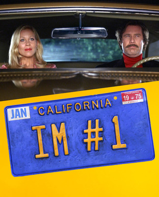 """In """"Anchorman: The Legend of Ron Burgundy,"""" Ron (Will Ferrell) drives colleague Veronica Corningstone (Christina Applegate) to a romantic spot overlooking San Diego. His license plate, which boasts """"IM #1,"""" will be displayed in """"Anchorman: The Exhibit,"""" opening at the Newseum Nov. 14.  (PRNewsFoto/Newseum, Courtesy Paramount Pictures; License plate: Sarah Mercier/Newseum/Courtesy DreamWorks Studios)"""