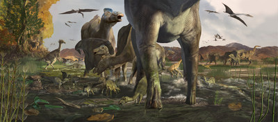A trio of paleontologists announced the discovery of a tracksite in Alaska's Denali National Park filled with duck-billed dinosaur footprints that demonstrate the animals lived in multi-generational herds and thrived in the ancient high-latitude, polar ecosystem. The findings have been published in Geology, the flagship journal of the Geological Society of America (GSA). Casts of the tracks are on view at the Perot Museum of Nature and Science, Dallas, Texas. ILLUSTRATION BY KAREN CARR (PRNewsFoto/Perot Museum of Nature and...)