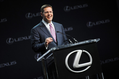 Mark Templin, executive vice president of Lexus International, addresses the media at an April 19, 2013, press conference in New York City. Senior executives announced that the Lexus ES 350 will be assembled at Toyota Motor Manufacturing, Kentucky starting in 2015.   (PRNewsFoto/Toyota)