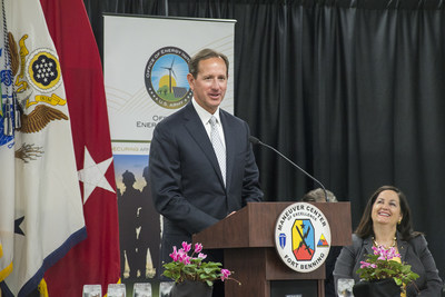 Georgia Power Chairman, President & CEO Paul Bowers discusses the importance of the Fort Benning 30 MW solar project to the state at the base on Friday, April 17. Bowers also noted the company's commitment to enhancing Georgia's position as a solar leader, and the extensive collaboration between the utility, the state's PSC and the U.S. Army needed to bring the project to construction.