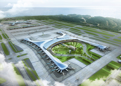 Aerial rendering of Incheon International Airport's new Terminal 2, which breaks ground September 26, 2013 in Korea. Rendering courtesy Gensler, collaborating design architect with the HMGY Consortium.  (PRNewsFoto/Gensler)
