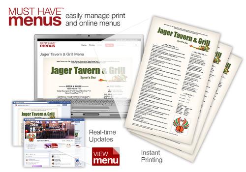 Jager Tavern & Grill in Sarasota, Florida utilizes MustHaveMenus for both online and print menus.  (PRNewsFoto/MustHaveMenus)