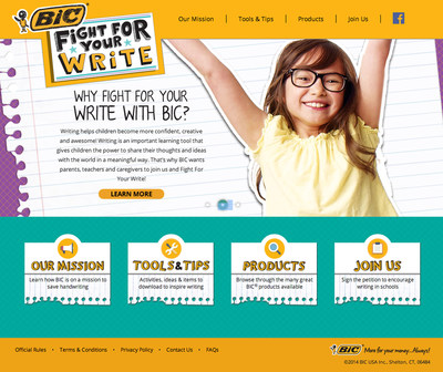 """BIC Encourages Parents of Students to """"Fight For Your Write""""; Launches Initiative to Highlight Benefits of Writing"""