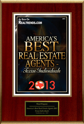 "Shad Bogany Selected For ""America's Best Real Estate Agents 2013 - Texas Individuals"".  (PRNewsFoto/American Registry)"