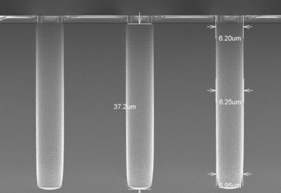 Figure 1 - Deep silicon-etched structures with SPTS' Omega c2L Rapier tool at imec