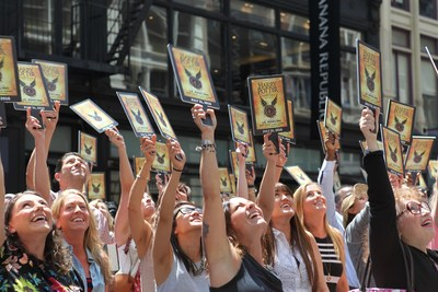 "On July 21, a ""Muggle Mob"" of 300 Harry Potter fans fills the street in front of the Scholastic headquarters building in New York City to celebrate the upcoming release of ""Harry Potter and the Cursed Child Parts One and Two,"" the eighth story, on July 31, 2016 at 12:01 a.m. ET. Credit: Scholastic"
