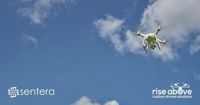 Sentera's Precision Agriculture Solutions being sold by Rise Above Custom Drone Solutions throughout Australia. Pictured here, DJI Phantom 4 Drone with NDVI 09Upgrade