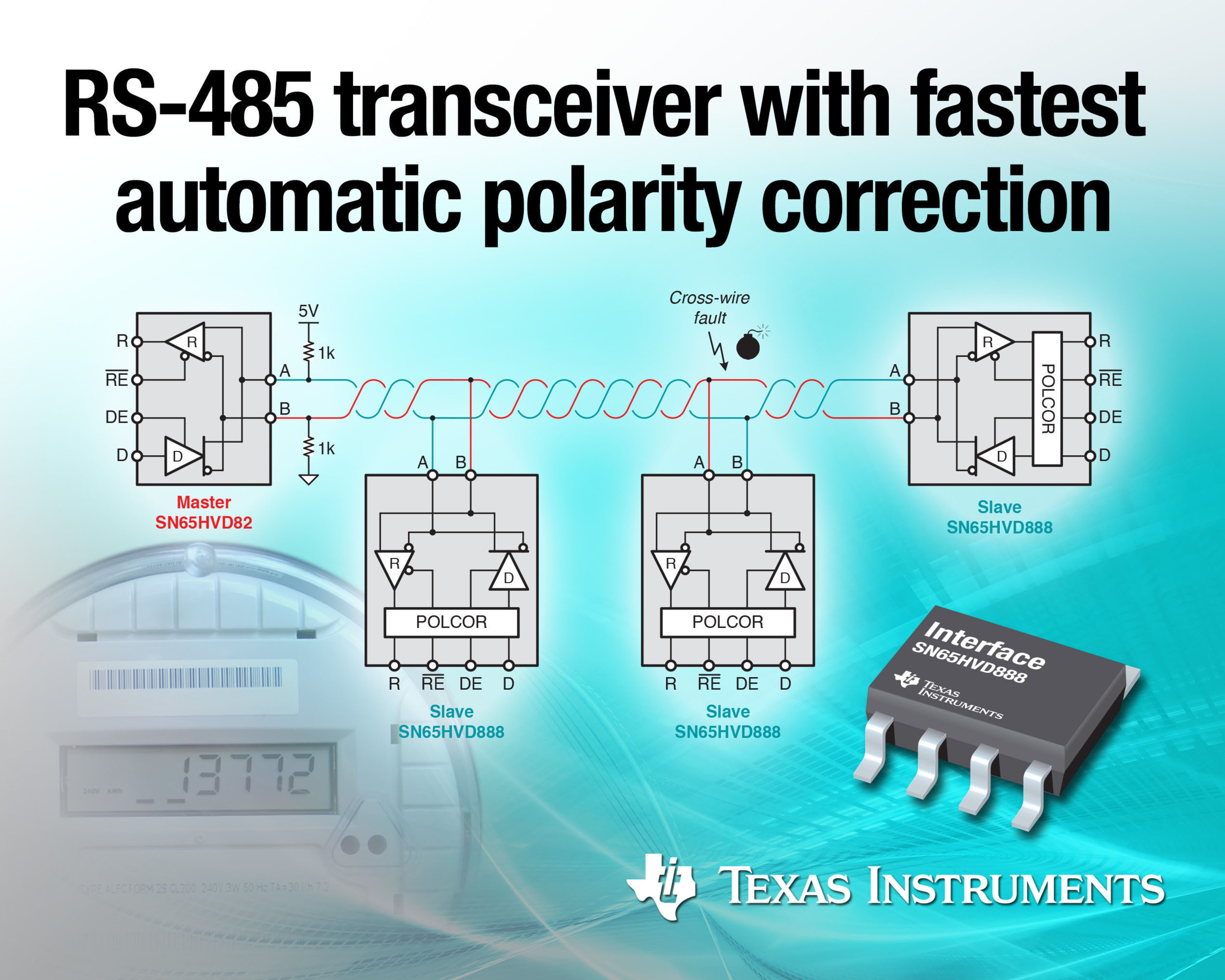 New RS-485 transceiver offers fastest automatic polarity correction.  (PRNewsFoto/Texas Instruments Incorporated)