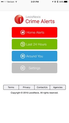LexisNexis(R) Crime Alerts Mobile - a free consumer-facing mobile application that encompasses crime-alerting capability on Apple(R) mobile devices.