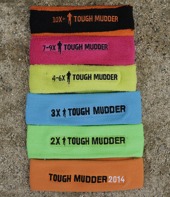 New for Tough Mudder in 2014 is Mudder Legion, the official community of multi-Mudders. In addition to the orange Tough Mudder headband, Legionnaires will earn a colored headband symbolizing the number of events they've crushed – from green for 2x Mudders to black for those who have come back 10+ times