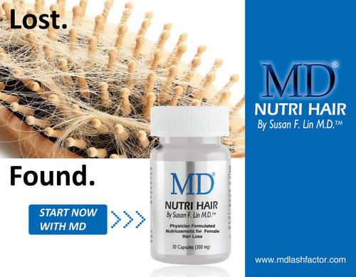New Solution for Female Hair Loss: See Less Hair on Your Brush!  Combat Female Hair Loss in 30 Days with MD Nutri Hair.  (PRNewsFoto/MD(R) Lash Factor)