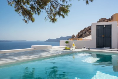 Pina Caldera is a perfect location for any couple in search of a private retreat on the unique island of Santorini; a major highlight is the exterior plunge pool with whirlpool feature and the large veranda which together overlook the 'caldera' volcano basin, sea and picturesque nearby village. (PRNewsFoto/Aria Hotels)