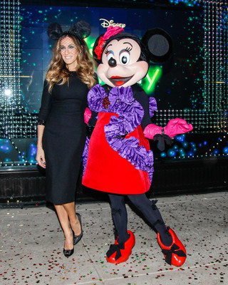Sarah Jessica Parker and Minnie Mouse at the launch of Electric Holiday with Disney at Barneys New York.  (PRNewsFoto/Barneys New York, BFA / David X Pruting)