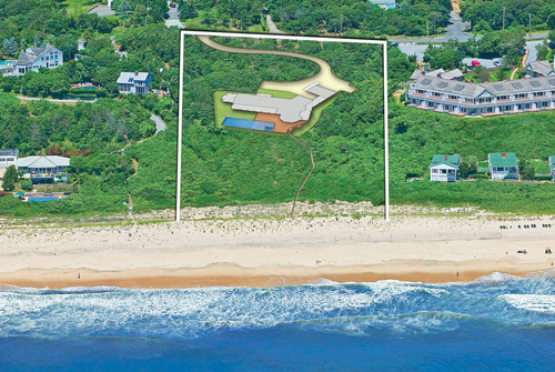This dramatic, 3-acre oceanfront building site with 186' ( /-) frontage on a fine sandy beach is being offered for the first time. A significant house, up to 10,000-sq.ft., can be built at an elevation of 55' above the ocean for magnificent views. Include a 60-ft. ocean-side pool in your plans, and then from the pool it is just a few steps to the ocean on a cleared, private beach path. An exceptional opportunity!  (PRNewsFoto/Bill Williams Realty)