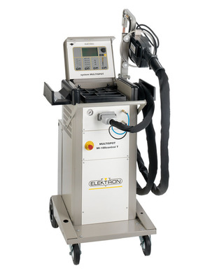 During the fall trade show season, customers can save big on the new Elektron MULTISPOT(R) MI-100control T resistance spot welder. Each welder purchased during the promotion comes with low lease payments, a $1 buyout option and the deluxe MULTISPOT accessory package, which includes five different electrode styles to support a variety of welding applications. Elektron's MULTISPOT MI-100control T spot welder features the industry's lightest transformer pliers, longest lightweight cables and a high welding current for use on high-strength steels. Customers can check out the MULTISPOT MI-100control T in booth 10339 at the SEMA Show in Las Vegas, Nov. 5-8. (PRNewsFoto/Elektron)