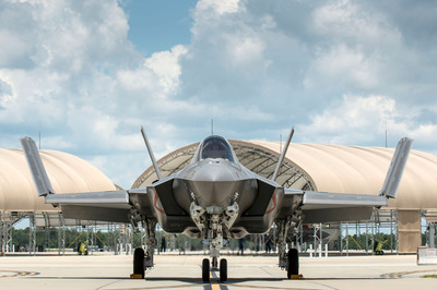 The Navy's first 5th generation F-35C production aircraft at Eglin Air Force Base, Fla.  Photo Credit: Todd R. McQueen, Lockheed Martin.  (PRNewsFoto/Lockheed Martin Aeronautics Company, Todd R. McQueen)