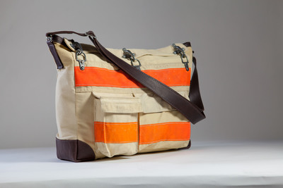 Second place Etsy prize winner, Firefighter Coat Turned Messenger Bag by artist Evon Cassier.