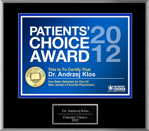 Dr. Klos of Hoboken, NJ has been named a Patients' Choice Award Winner for 2012