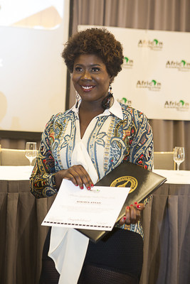 Roberta Annan after receiving the Hall of Fame Induction Certificate