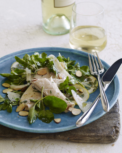 Watercress Trout Salad is one of the wine country recipes featured in Wine Institute's new Down to Earth ...