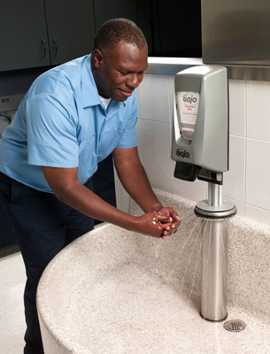 Those who work in manufacturing, automotive and other industries where hands are exposed to dirt, cold and chemicals can protect themselves through effective hand hygiene, GOJO scientists say.  (PRNewsFoto/GOJO Industries, Inc.)