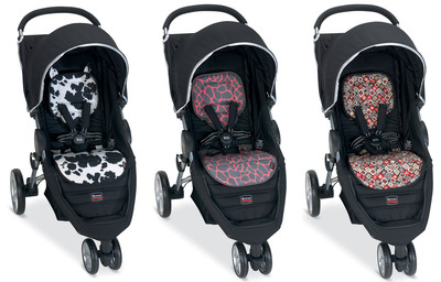 BRITAX B-AGILE stroller inserts now available!  Fashions include: Cowmooflage, Pink Giraffe and Redwood.  (PRNewsFoto/BRITAX Child Safety Inc.)