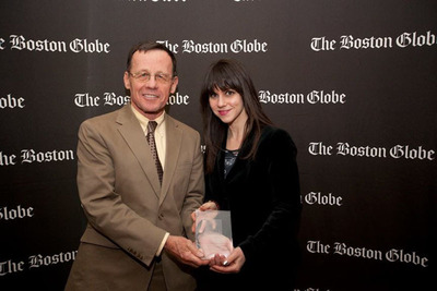 "Hammond Residential Real Estate Executive Vice President and Co-founder Joseph Hare and Executive Marketing Manager Leaura Levine accepting the 2013 Boston Globe ""Top Places to Work"" award. Hammond was the only real estate company to appear in the top 10 of the ""Large Employer"" category, and is the only real estate firm to be ranked by The Boston Globe as a ""top place to work"" company for four consecutive years. Hammond was founded in 1991 by Saul Cohen and Joseph Hare. The company has seventeen office locations and employs over 400 agents and staff. For more information, visit: www.HammondRE.com.  (PRNewsFoto/Hammond Residential Real Estate)"