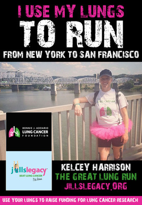 Kelcey runs from New York to San Francisco to BEAT LUNG CANCER for the Bonnie J. Addario Lung Cancer Foundation and Jill's Legacy in honor of her childhood friend, Jillian Costello who lost her battle in 2010 at 22-years-young.  (PRNewsFoto/Bonnie J. Addario Lung Cancer Foundation)