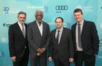 Morgan Freeman and Jeff Skoll honored at Geffen Playhouse Annual Backstage Fundraiser.  Pictured (L-R) Randall Arney (Artistic Director), Morgan Freeman, Jeff Skoll and Gil Cates, Jr. (Executive Director)