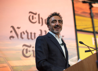 Hamdi Ulukaya, founder and CEO, Chobani, announces the Chobani Food Incubator at the New York Times Food for Tomorrow Conference at Stone Barns in Westchester County, NY.